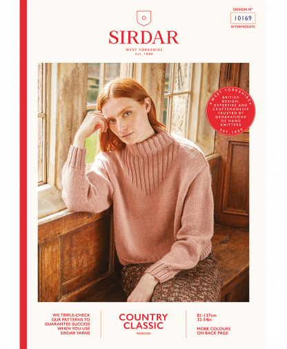 Sirdar 10169 Womens Funnel Neck Rib Detail Sweater in Sirdar Country Classic Worsted