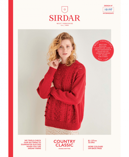 Sirdar 10197 Lace and Bobble Textured Sweater in Sirdar Country Classic DK