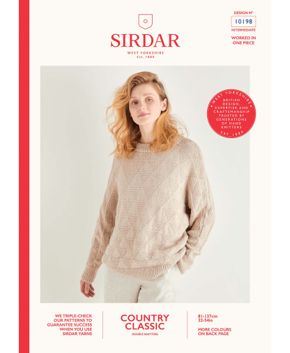 Sirdar 10198 Triangle Reverse Stitch Sweater in Sirdar Country Classic DK