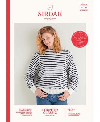 Sirdar 10201 Boat Neck Breton Sweater in Sirdar Country Classic DK