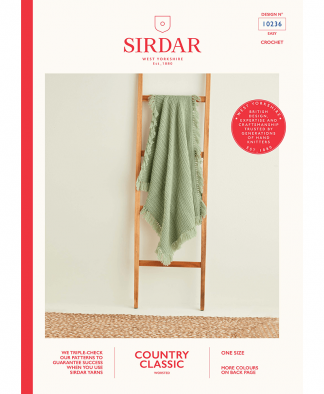 Herringbone Crochet Blanket with Tassles in Sirdar Country Classic Worsted