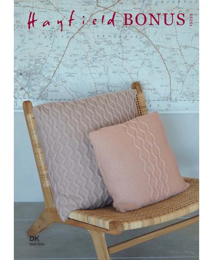 Sirdar 10255 Zig Zag Cable Cushions in Hayfield Bonus DK