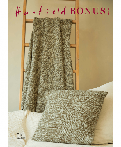 Sirdar 10258 Check Textured Blanket and Cushion in Hayfield Bonus DK