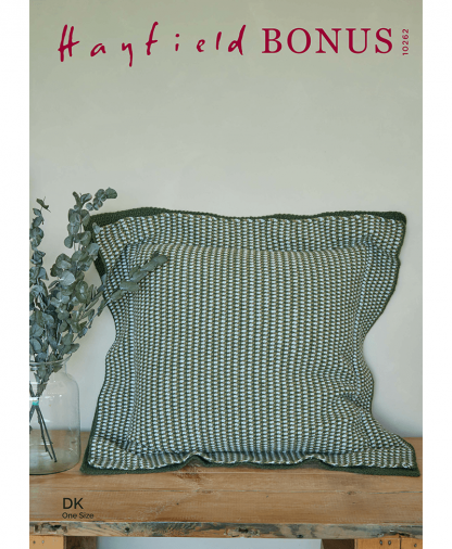 Sirdar 10262 Crochet Linen Floor Stitch Cushion in Hayfield Bonus DK