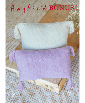 Sirdar 10263 Wild Oats and Plaited Basket Stitch Cushions in Hayfield Bonus DK