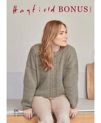 Sirdar 10265 Slouchy Cable Sweater in Hayfield Bonus DK