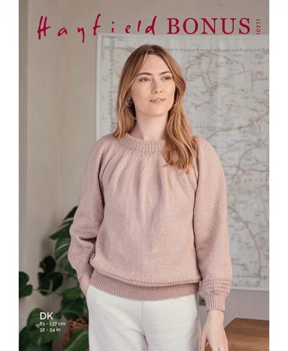 Sirdar 10271 Yoke Gathered Sweater in Hayfield Bonus DK