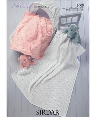 Sirdar 1600 Baby Blanket or Shawl in Snuggly DK
