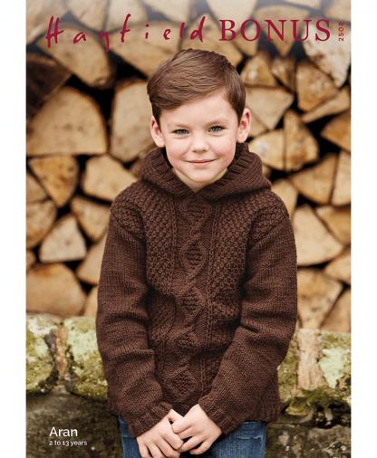 Sirdar 2508 Boys Hooded Sweater in Bonus Aran