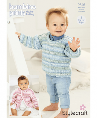 Stylecraft 9846 Cardigan and Sweater in Bambino Prints DK (Leaflet)
