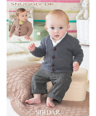 Sirdar 1311 Baby Cardigans and Matching Blanket or Afghan in Snuggly DK