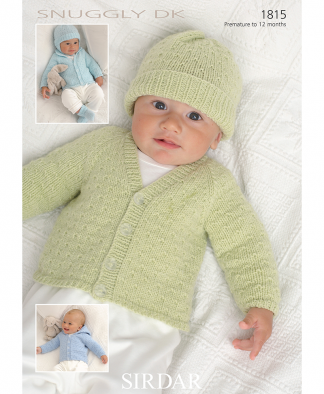 Sirdar 1815 Cardigan, Hats, Mittens and Booties in Snuggly DK