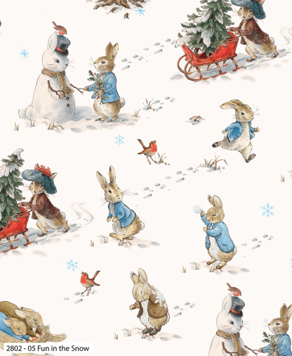 Craft Cotton Co - Peter Rabbit Christmas Traditions - Fun in the Snow (2802-05)