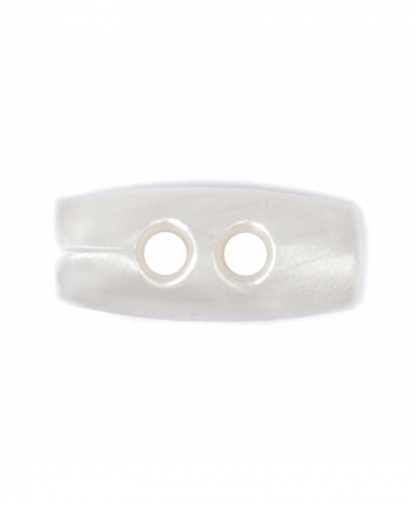 Plastic Toggle - Two Hole - 15mm - White (2B_2234)