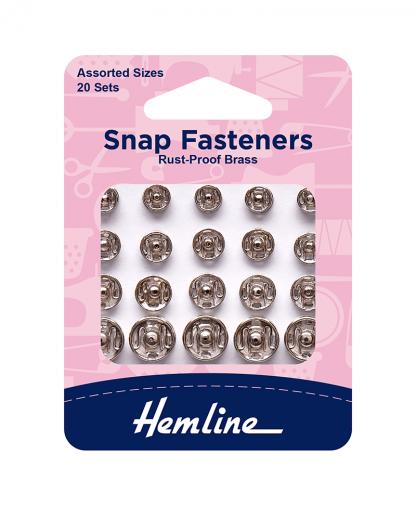 Hemline Snap Fasteners - Assorted Nickle (H420.99)