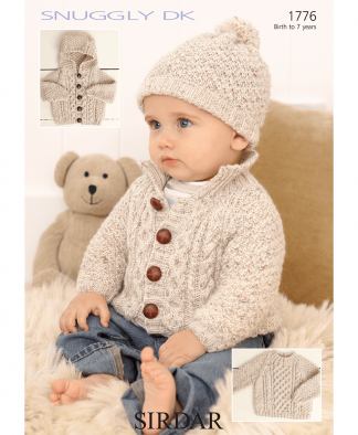 Sirdar 1776 Baby Cabled Sweater, Jacket & Hat in Snuggly DK