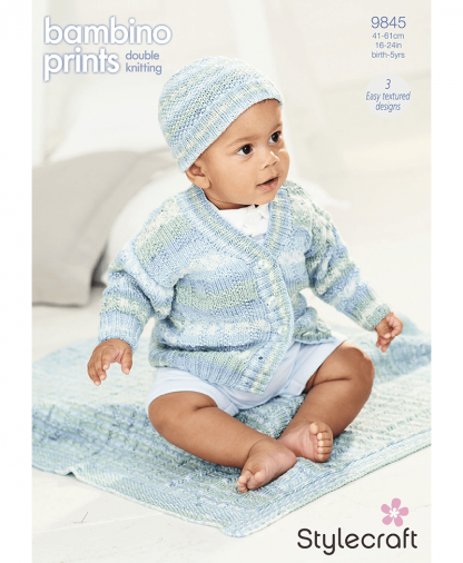 Stylecraft 9845 Cardigan, Hat and Blanket in Bambino Prints